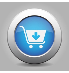 Blue button - shopping cart add vector