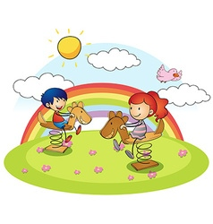 Boy and girl on rocking horse vector