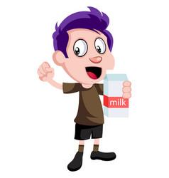 boy holding milk on white background vector image
