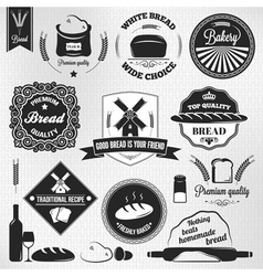 bread set bakery vintage labels vector image