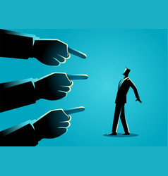 Businessman being pointed giant fingers vector