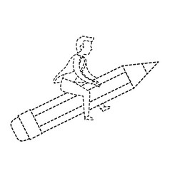Businessman mounted on a pencil avatar character vector