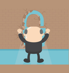 businessman standing back of the wall vector image