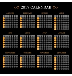 Calendar Template for 2017 on Dark Background vector