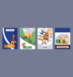 camping cards set cartoon vector image