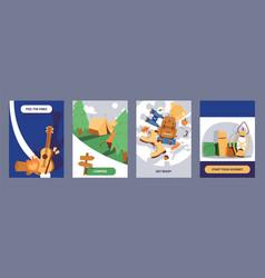camping cards set cartoon vector image