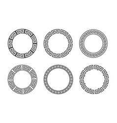 Circle frame with seamless meander pattern vector