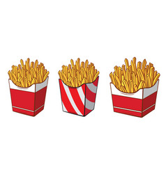 collection cardboard box with french fries hand vector image