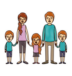 Color crayon stripe cartoon family with young vector