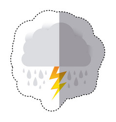 Color sticker of cloud with rain and lightning vector