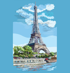 colorful hand drawing paris 1 vector image