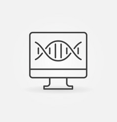 computer with dna outline icon pc with dna vector image
