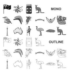 Country australia monochrom icons in set vector