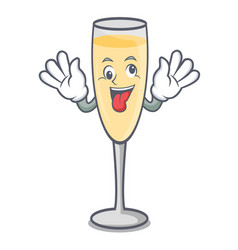 Crazy champagne mascot cartoon style vector