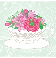 Creative with Teacup Full of Flowers vector
