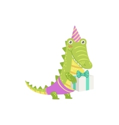 Crocodile Cute Animal Character Attending Birthday vector image
