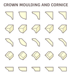 Crown moulding and cornice decoration icon set vector