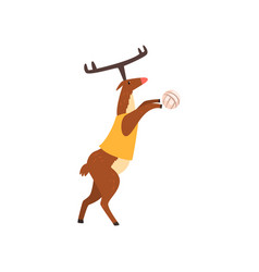 Deer in sport uniform playing volleyball funny vector
