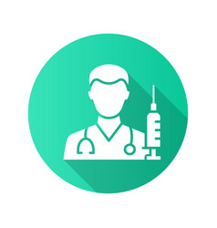 doctor with syringe icon with long shadow for vector image