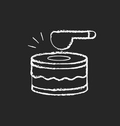 Drums chalk white icon on black background vector