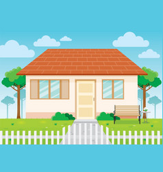 Family house and garden home exterior vector
