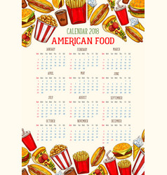 Fast food calendar 2018 template sketch vector