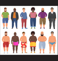 fat man in casual and summer underwear clothes set vector image