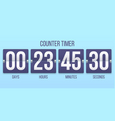flip clock timer countdown counter days counting vector image