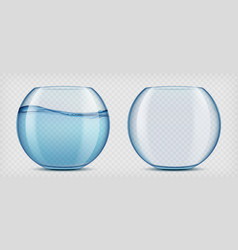 Glass aquariums with water and empty vector