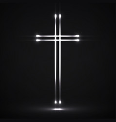 Glowing christian cross religious symbol vector