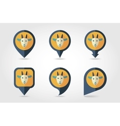 Goat mapping pins icons vector image