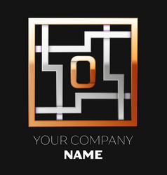 golden letter o logo symbol in the square maze vector image