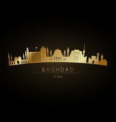 Golden logo baghdad skyline silhouette vector