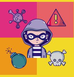 Hacker with virus cartoons vector