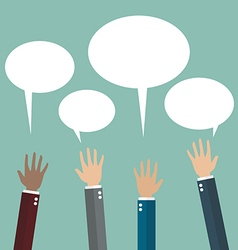 Hands raised with speech bubble vector