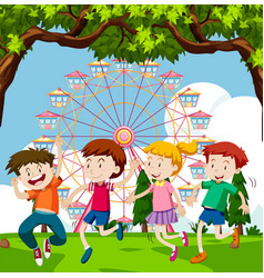 Happy children playing in park with ferris wheel vector