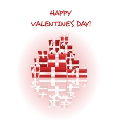 Happy Valentines Day card with stack of gifts vector