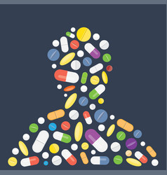 heap of tablets capsules and pills vector image