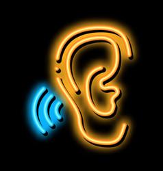 Hears sound neon glow icon vector