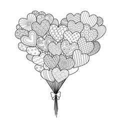 Hearted balloons vector