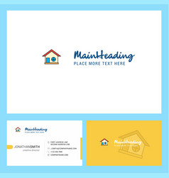 home logo design with tagline front and back vector image