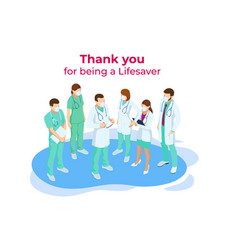 isometric concept thank you doctors and nurses vector image