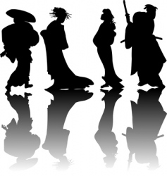 Japanese silhouettes vector