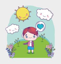 Kids cute little boy talk bubble love standing vector
