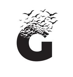 Letter g with effect destruction dispersion vector