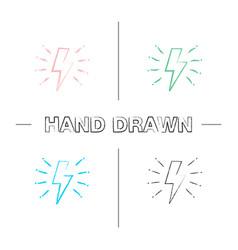 Lightning bolt hand drawn icons set vector