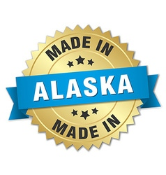 made in Alaska gold badge with blue ribbon vector image