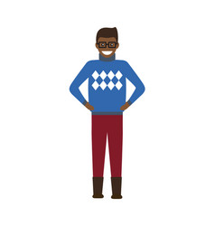 man dressed in sweater poster vector image