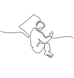 Man in sleeping pose on pillow vector