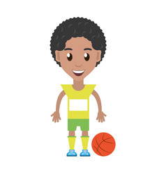 Man playing basketball cartoon vector